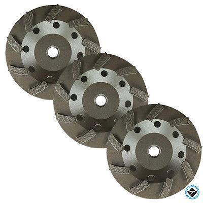 3 Pack - 4.5 Diamond Grinding Cup Wheel Turbo Swirl 9 Segs 58-11 Thread
