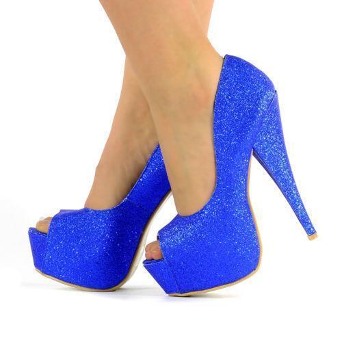 Blue Glitter Heels Ebay