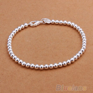 Fashion Women's Religious Sterling Solid Silver Jewelry 4mm Ball Bracelet BGBA