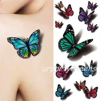 Waterproof Temporary 3D Colorful Flying Butterfly Tattoo Stickers Body Art - Colorful Butterfly Tattoos