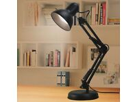 Desk Lamp Flexible Reading Office Table Light Black - with bulb!
