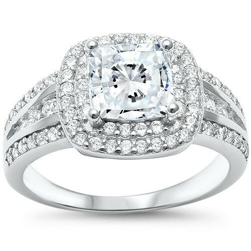 Princess Cut Double Halo Engagement .925 Sterling Silver Rin