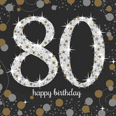 80th Birthday Napkins (SPARKLING CELEBRATION 80th Birthday SMALL NAPKINS (16) ~ Party Supplies Cake)