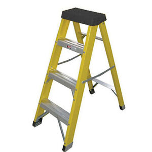 Industrial Electricians Fibreglass work step ladders HEAVY DUTY Fibre glass