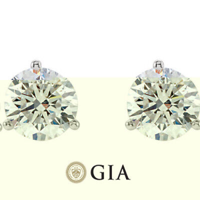 GIA Round Diamond Platinum Stud Earrings Screw back H VS2 1 22 tcw