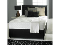 BRAND NEW DIVAN DOUBLE BED OR SMALL DOUBLE WITH 1000 POCKET SPRING MATTRESS IN BLACK WHITE COLOUR
