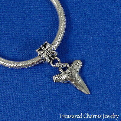 Silver SHARK TOOTH Dangle Bead CHARM fits EUROPEAN Bracelet *NEW* - Shark Tooth Bracelet