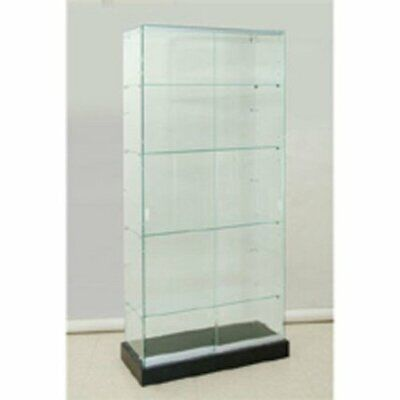 Frameless Glass Tower Showcase 36 W X 16 D X 80 H Inches On Black Laminate Base