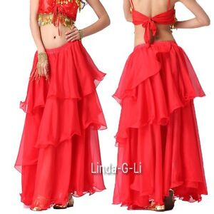 Chiffon Dancing Costume Belly Dance Spiral Long Skirt 3 layers  9 Color Choices