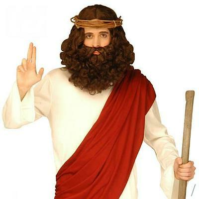 PROPHETEN Perücke mit Bart - Jesus Perücke - Mönch Prophet Messias Jünger 6262