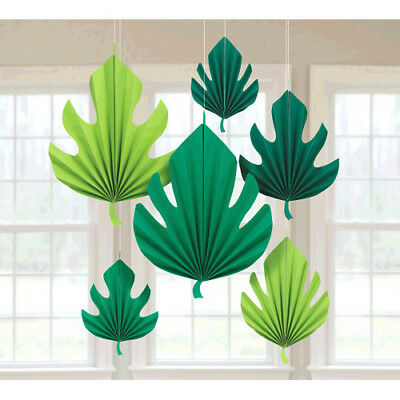 HAWAIIAN LUAU TROPICAL LEAVES PAPER FANS (6) ~ Birthday Party Supplies Decorate