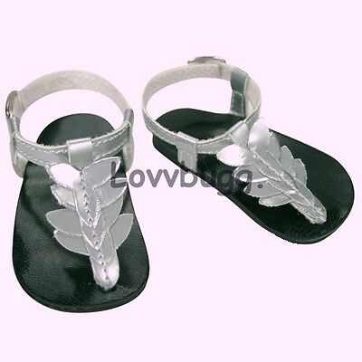 "Lovvbugg Silver Greek Leaf Sandals for 18"" American Girl or Boy or Bitty Baby Doll Shoes"