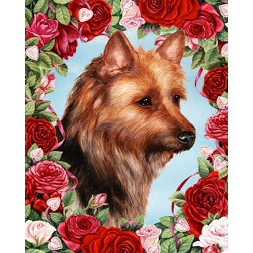 Roses House Flag - Australian Terrier 19203