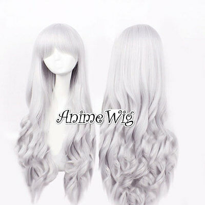 Silber-Grau Lolita Perücke Voll Wig Kostüm Lange Haare Restyle Gelockt - Graue Haare Kostüm Perücke