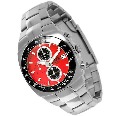 S.U.G. AVENGER MEN'S STAINLESS STEEL QUARTZ OS10 CHRONOGRAPH WATCH NEW RED SALE
