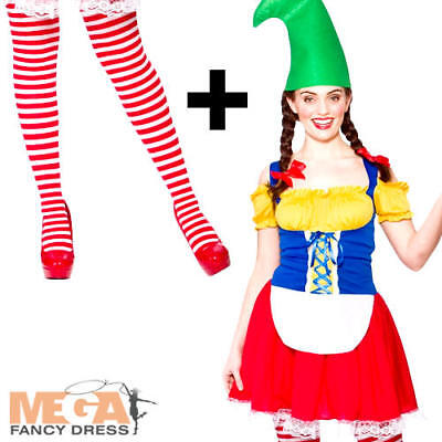 Cute Gnome + Tights Ladies Fancy Dress Garden Elf Womens Christmas Adult Costume