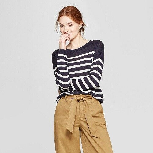 Women's Striped Long Sleeve Crewneck Pullover Sweater – A New Day Navy/White M Clothing, Shoes & Accessories