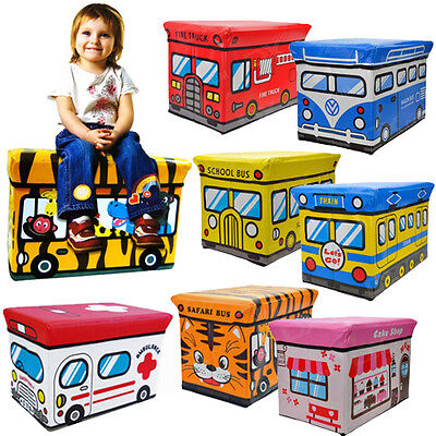 KIDS BOYS GIRLS STORAGE SEAT STOOL TOY BOOKS CLOTHES BOX CHEST CHILDRENS NEW