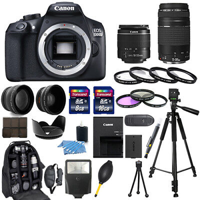 Canon Eos 1300D   Rebel T6 Camera   18 55Mm   75 300Mm   30 Piece Bundle