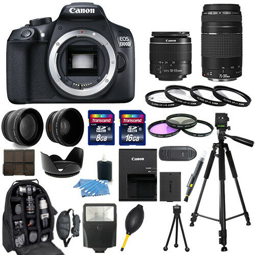 Canon Eos 1300d / Rebel T6 Camera + 18-55mm + 75-300mm + 30 Piece Bundle