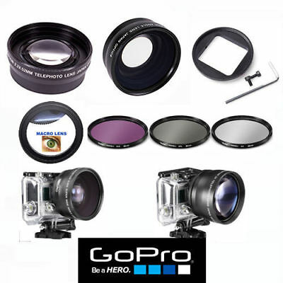 GOPRO HERO4 HERO3  WIDE ANGLE LENS+TELEPHOTO ZOOM LENS + FILTER KIT + MACRO LENS