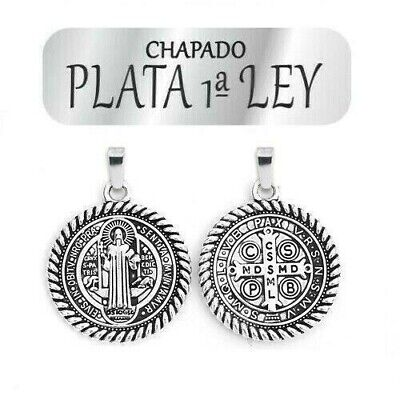 Gran Medalla San Benito 40MM. Baño Plata .925 Nueva.