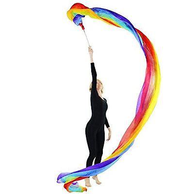 Danzcue Dance Rainbow Silk Worship Gym Rhythmic Art Ballet Flower Streamer(Rod i