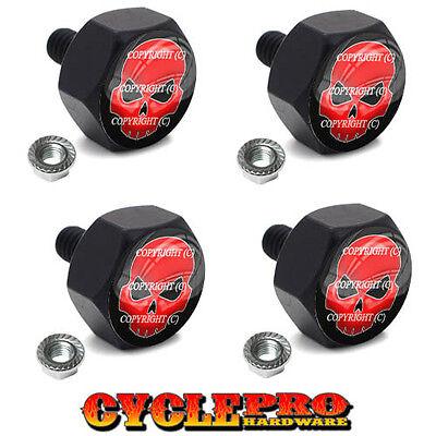 4 Black Billet Hex License Plate Frame Tag Bolts RED SKULL - 112