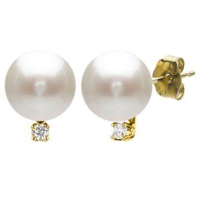 Stud Earrings 14k Yellow Gold 1/10cttw Diamond 9-9.5mm White