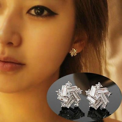 Elegant Fashion Women Jewelry Crystal Windmill Ear Stud Silver Plated Earrings