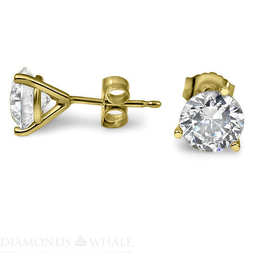 Stud Enhanced Round Diamond Earrings 0.9 Ct Vs1/e 18k Yellow Gold Engagement