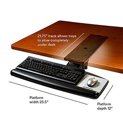 3M AKT70LE Positive Locking Keyboard Tray, Standard Platform, 21 3/4