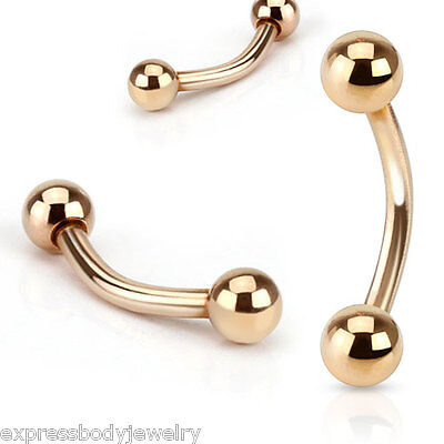 14g Rose Curve Gold IP Ion Plating Eyebrow Ball Ear Belly Nipple Lip 1 Or 2 (14g Gold Plate)