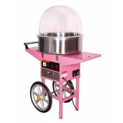 Candy floss machine with cart, metal bowl and cover, candy floss, commercial