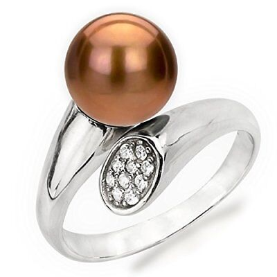 Sterling Silver Adjustable Ring 9-10mm Round Dyed-chocolate Freshwater Cultur... ()