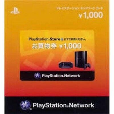 playstation network card 1000 Yen japan japanese PSN PSP VITA PS3 PSV PS4 ticket