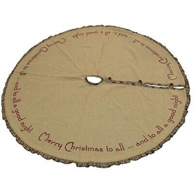 New Primitive Rustic Burlap MERRY CHRISTMAS TO ALL GOOD NIGHT Tree Skirt 48