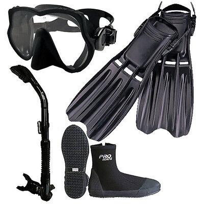 Scuba Dive Frameless Mask Snorkel Boots Fins Gear Set  - Mask Fins Snorkel Boots