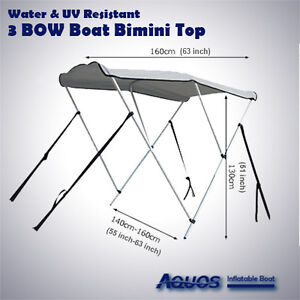 NEW-Longer-3-Bow-Deluxe-Sun-Canopy-Bimini-Top-Suit-11-to-14-Foot-Boat