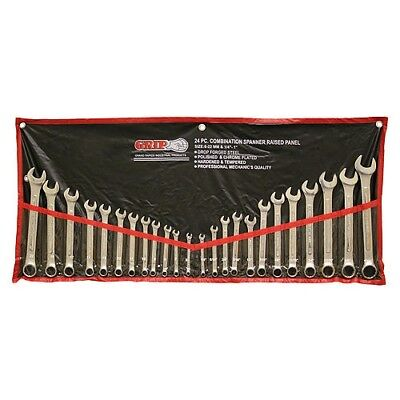 24pc GRIP Combination Wrench Set Metric SAE with Roll Up Pouch Case Tools 89358