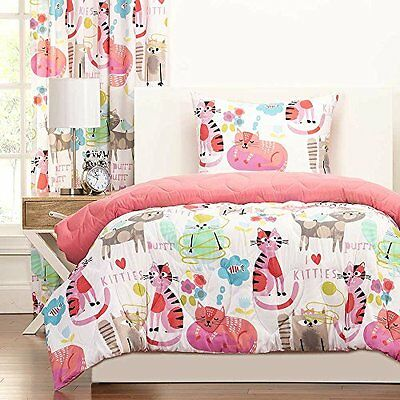 Bedding Sets Twin for Girls Kids Comforter Cat Kitty Bedroom Reversible Bed 2pc