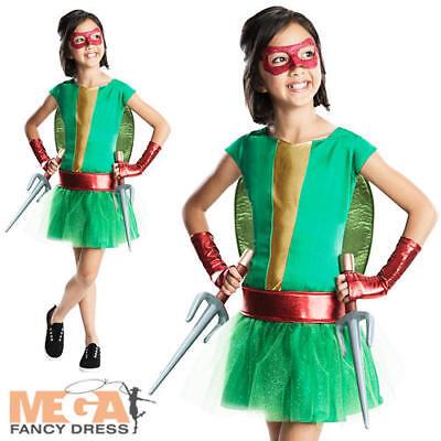Raphael Teenage Mutant Ninja Turtle Girls Fancy Dress TMNT Superhero Kid Costume