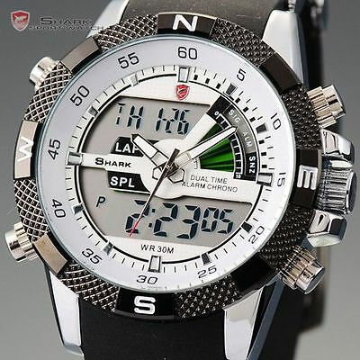 SHARK Luxury Mens Army Dual Display Alarm Chronograph Sport Wrist Watch UK
