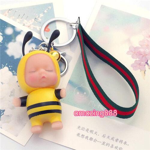 Cute Sleeping Kid Key Chain Vinyl Adorable Disguised Kid Key Ring Bag Pendant