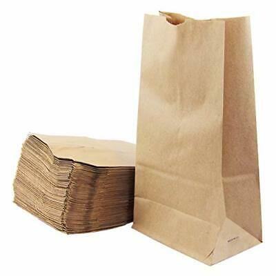 200 Pcs Kraft Paper Bags 11x6x3.5 Grocery Lunch Retail Shopping Bleached Barrel