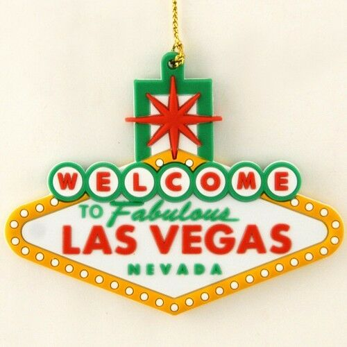 Welcome To Fabulous Las Vegas Sign Christmas Holiday Tree Hanging Ornament Green