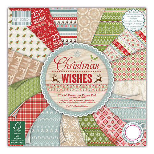 64 SHEET FULL PACK 6 x 6 FIRST EDITION CHRISTMAS WISHES CARD MAKING CRAFT PAPER