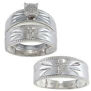Sterling Silver Diamond Wedding Set