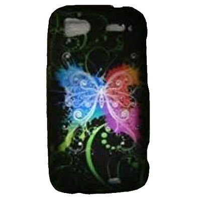 For HTC Sensation 4G Rubberized Protector Snap on Phone Cover Rainbow - Butterfly Rubberized Snap
