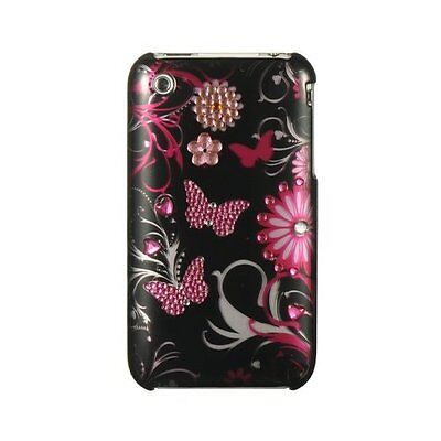 Iphone 3g Diamond (For Apple iPhone 3G 3GS Spot Diamond HARD Case Phone Cover Black Butterfly )